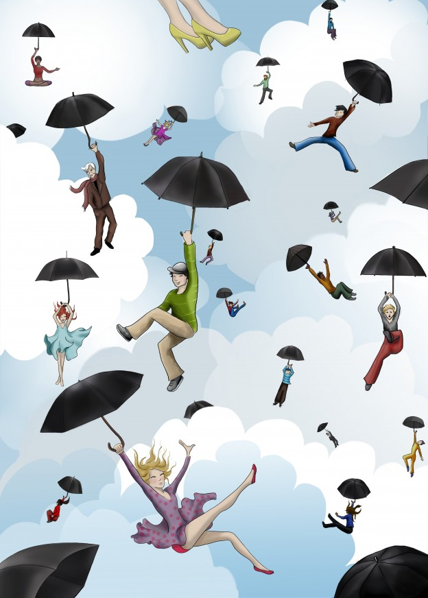 Sky People. Childrens illustration