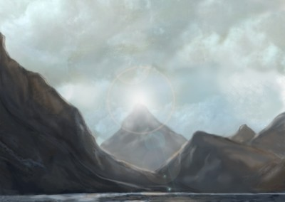 Matte painting of mountain